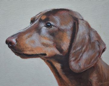 John Silver Original Oil Painting Of A Dachshund Dog